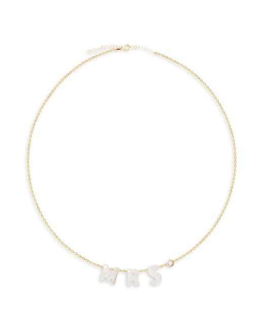Gabi Rielle Metallic Women's Get Personal Mrs. 14k Gold Vermeil & Mother-of-pearl Necklace
