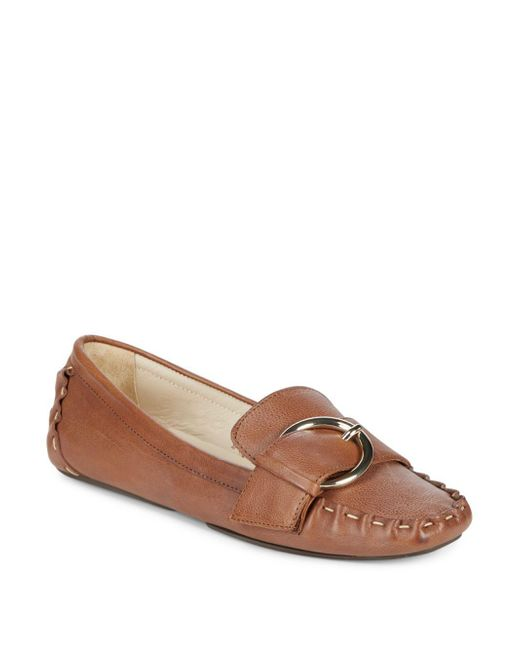 Frances Valentine - Brown Leather Moc Toe Drivers - Lyst