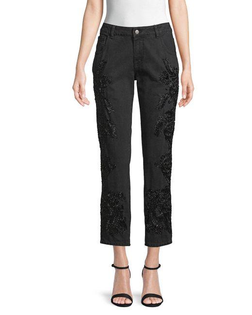 Amen - Black Embellished Cropped Jeans - Lyst