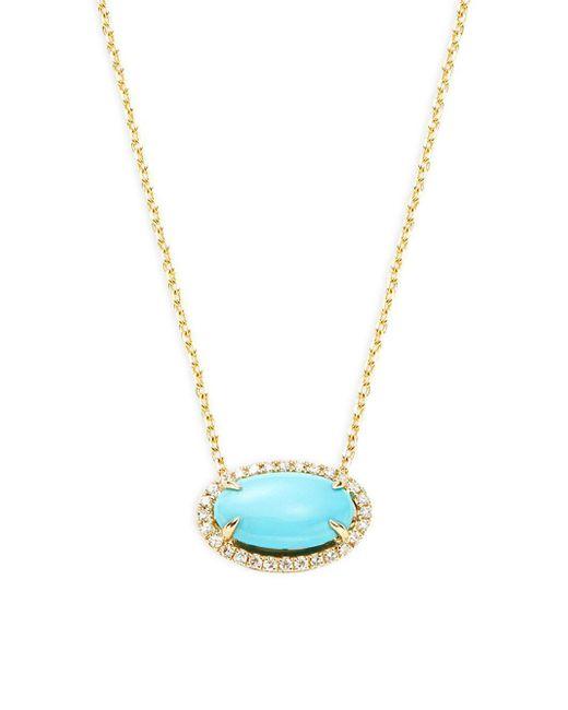 Effy - Metallic 14k Gold Turquoise & Diamond Oval Pendant Necklace - Lyst