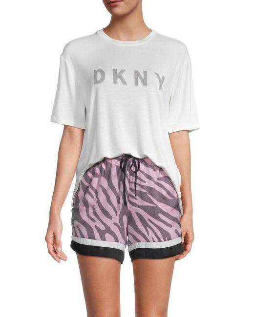 DKNY Multicolor 3-piece T-shirt, Boxers & Sleep Mask Pajama Set