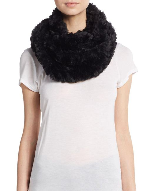 La Fiorentina - Black Faux Fur Infinity Scarf - Lyst