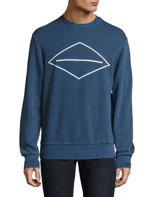 Rag & Bone - Blue Cotton Graphic Sweater for Men - Lyst