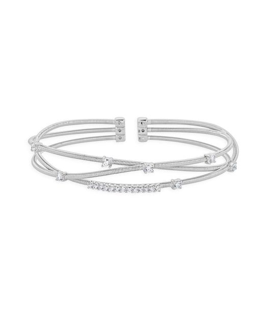Saks Fifth Avenue - Metallic Diamond And 14k White Gold Wire Bangle Bracelet - Lyst
