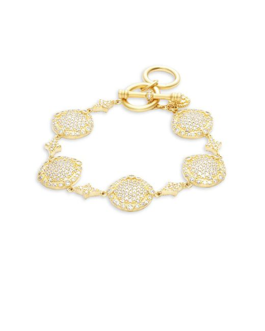 Freida Rothman - Metallic Classic 14k Gold-plated Sterling Silver Pave Disc Bracelet - Lyst