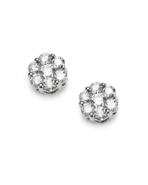 Saks Fifth Avenue | Metallic 1.31 Tcw Diamond Floral & 18K White Gold Earrings | Lyst