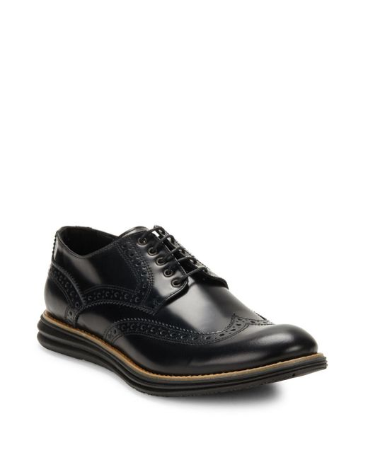 Bugatchi | Black Semi-gloss Wingtip Leather Brogues for Men | Lyst