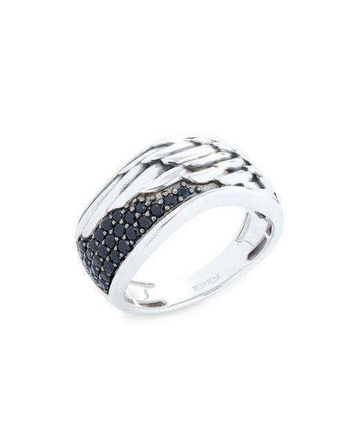 Effy Men's Sterling Silver & Black Spinel Ring - Size 10
