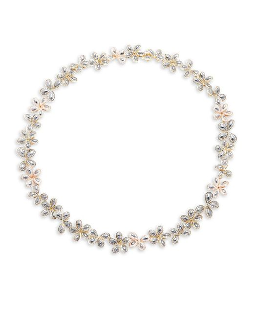 Roberto Coin - Metallic 9.75 Tcw Diamond & 18k White Gold Floral Necklace - Lyst
