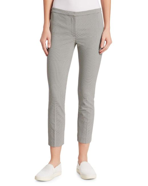 Theory - Black Classic Crop Houndstooth Skinny Pants - Lyst