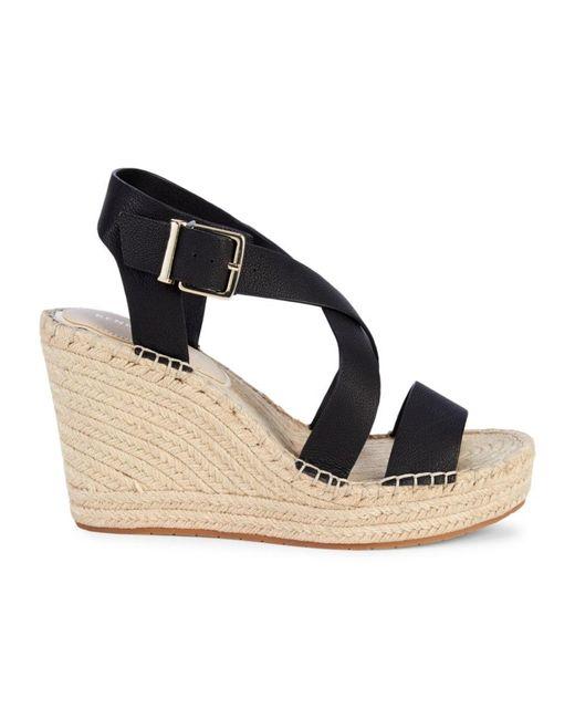Kenneth Cole Women's Owen Cross Leather Espadrille Wedge Sandals - Black - Size 10