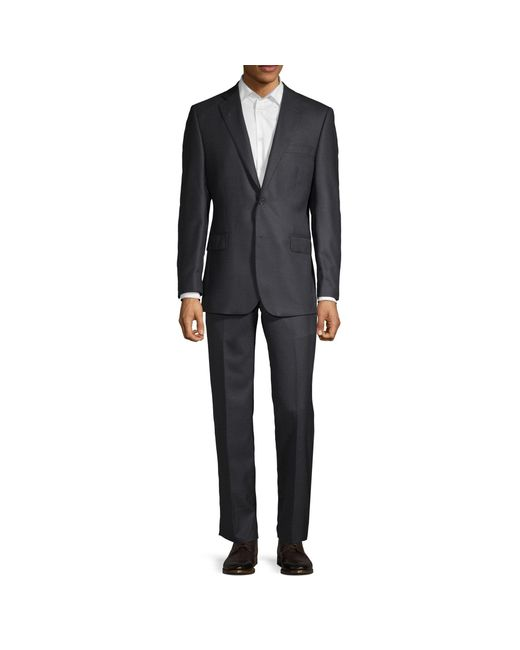 Saks Fifth Avenue Gray Two-piece Classic Fit Wool Suit for men