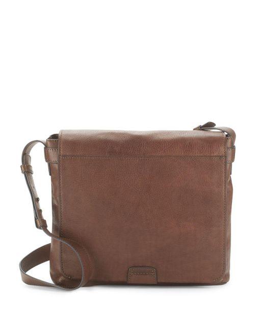 Frye - Brown Foldover Leather Crossbody Bag for Men - Lyst