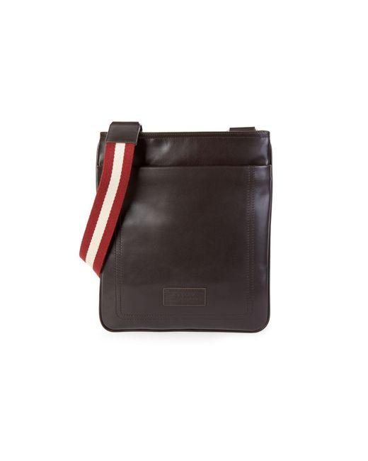 Bally Brown Terino Stripe-strap Leather Crossbody Bag for men