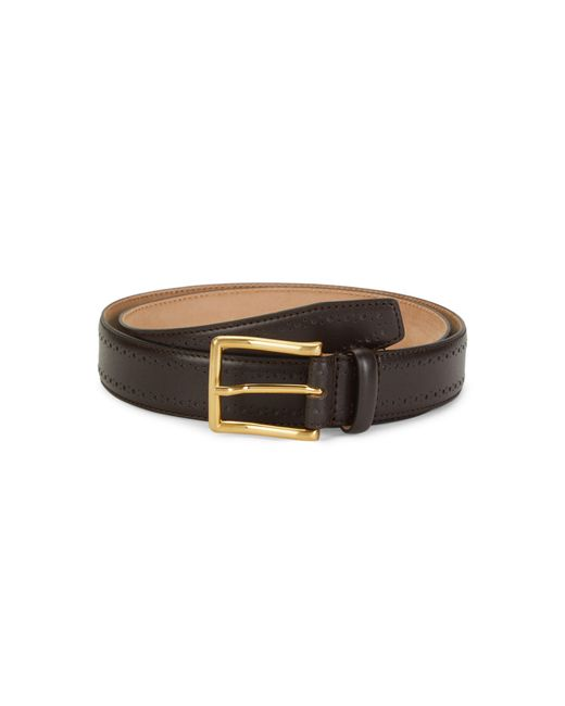 Saks Fifth Avenue Brown Nappa Leather Belt for men