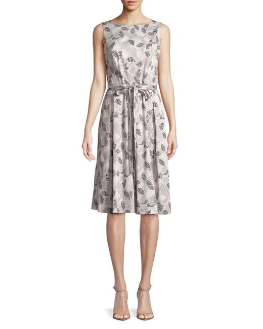 Jones New York - Multicolor Printed Leaf Fit-and-flare Dress - Lyst