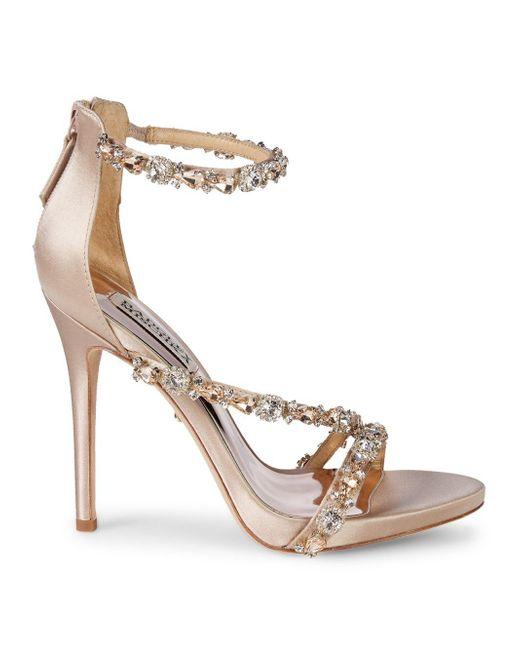 a392c1221e23 Lyst - Badgley Mischka Quest Crystal Embellished Sandals in Metallic