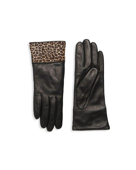 Portolano Black Calf Hair-trim Leather Gloves