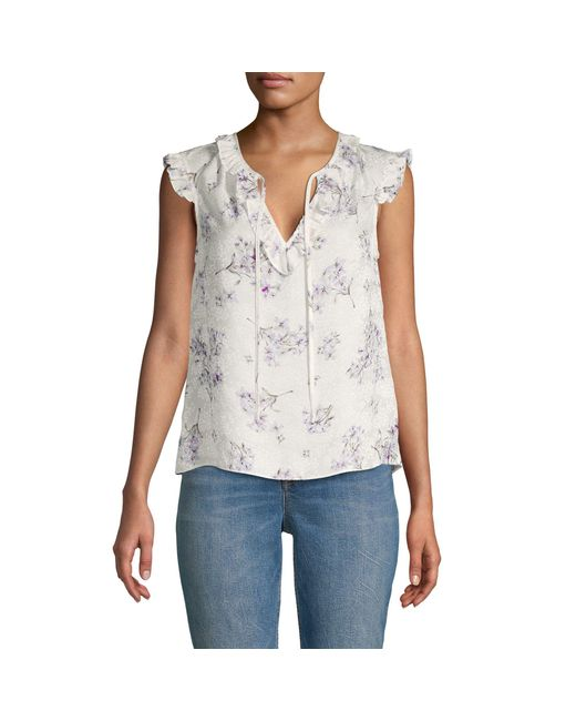 Rebecca Taylor Blue Floral Silk Top