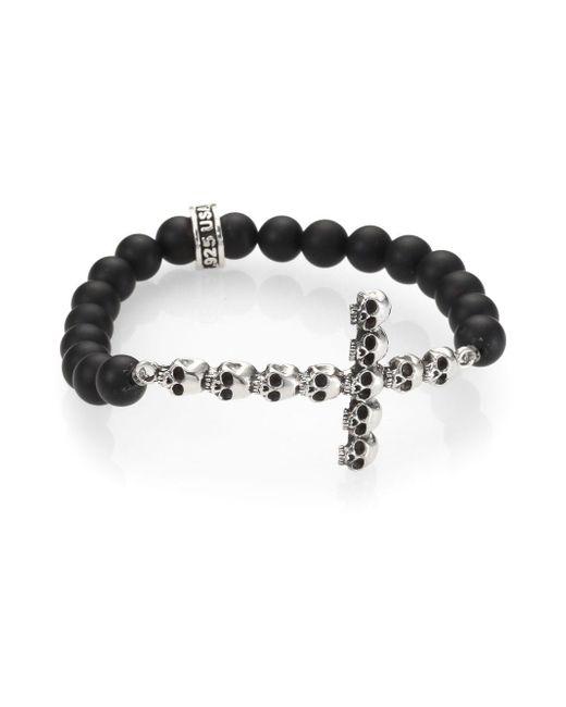 King Baby Studio - Metallic Onyx Bead Bracelet - Lyst