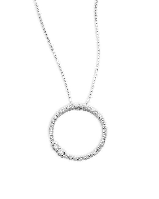 Saks Fifth Avenue - Metallic Diamond & 14k White Gold Pendant Necklace - Lyst