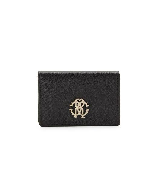 Roberto Cavalli Black Crest Flap Leather Wallet