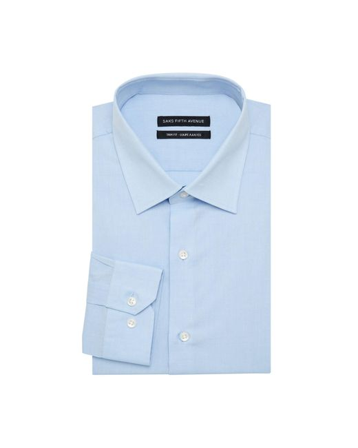 Saks Fifth Avenue Blue Trim-fit Solid Stretch-cotton Dress Shirt for men