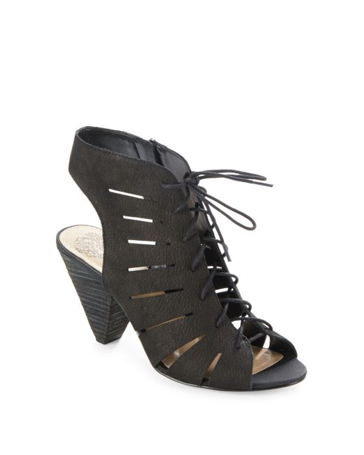 Vince Camuto - Black Estie Stacked-heel Lace-up Sandals - Lyst
