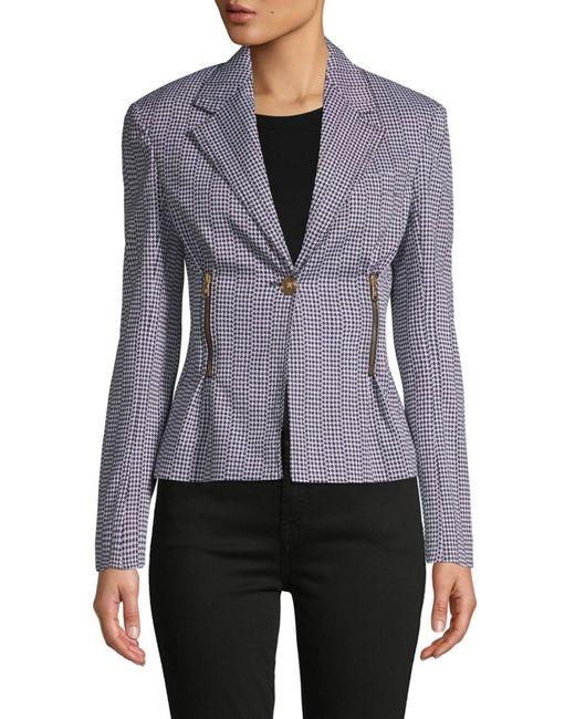 Versace Women's Houndstooth Peplum Jacket - Black White - Size 42 (6)