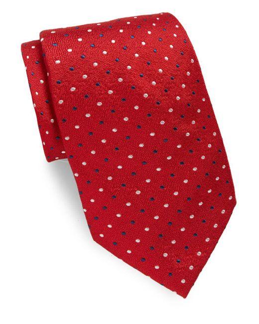 Brioni - Red Small Multi Dot Silk Tie for Men - Lyst