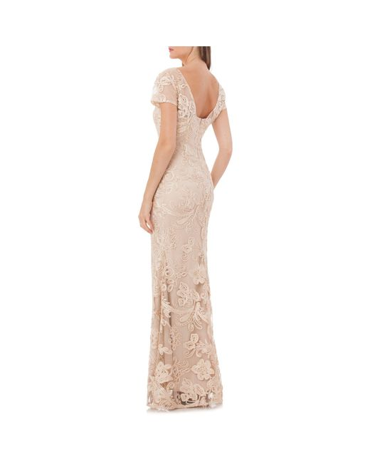 JS Collections Purple Embroidered Lace A-line Gown