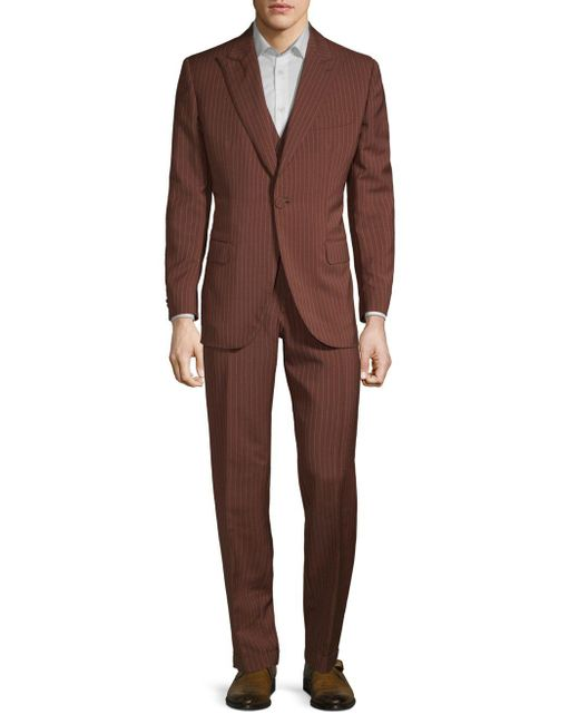 Brioni - Brown Wool & Silk Striped Suit for Men - Lyst