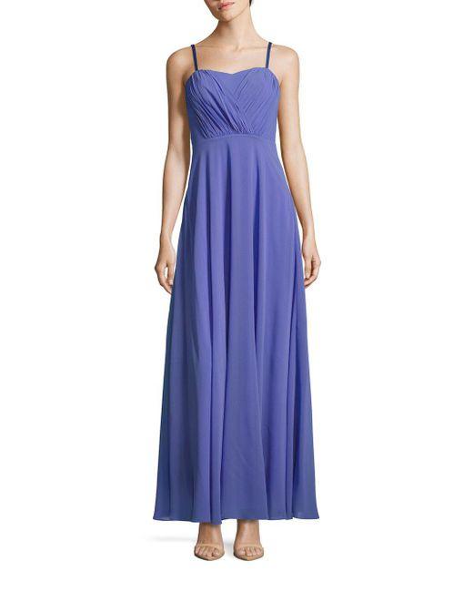 Vera Wang - Purple Strapless Chiffon Dress - Lyst