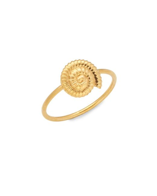 Valentino Metallic Goldtone Shell Charm Ring