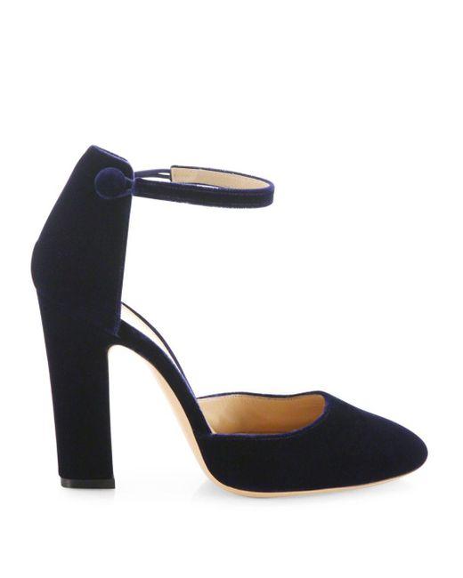 d5cee43cf3b0 ... Gianvito Rossi - Blue Velvet Ankle-strap Block-heel Pumps - Lyst