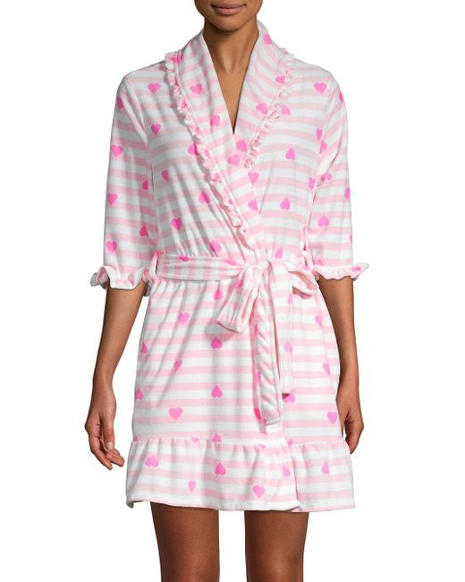 Betsey Johnson Pink Printed Ruffle-trimmed Robe