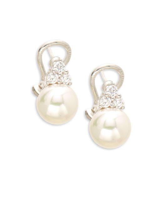 Majorica - White Cubic Zirconia & Sterling Silver Earrings - Lyst