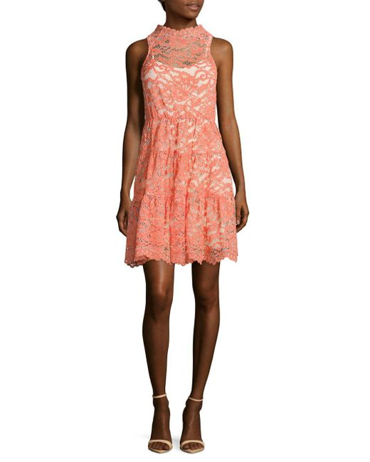 ERIN Erin Fetherston | Pink Posie Scalloped Lace Dress | Lyst