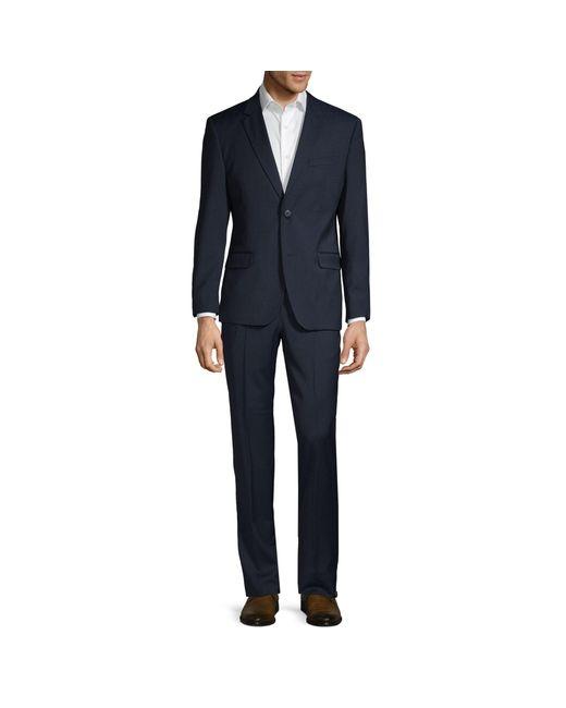 Ben Sherman Blue Slim-fit Textured Wool Blend Suit for men