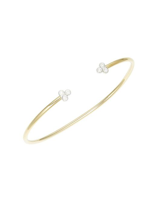 Danni - Metallic Diamond 14k Two-tone Gold Open Bangle - Lyst