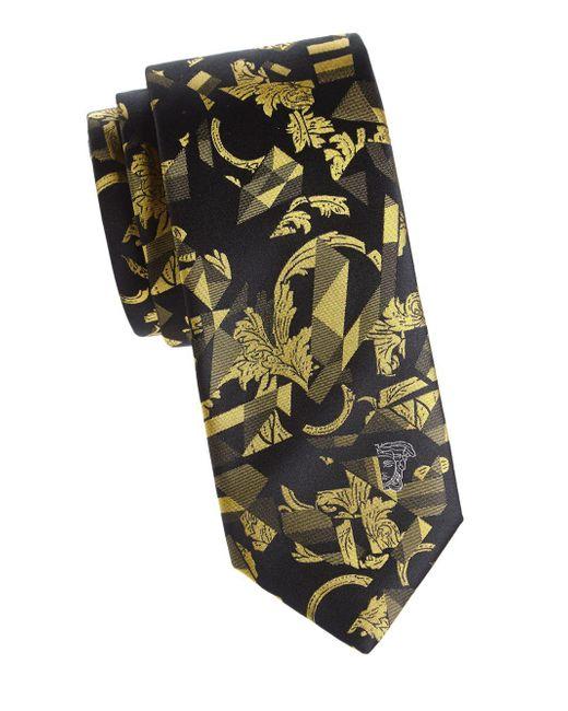 Versace Yellow Textured Abstract Silk Tie for men