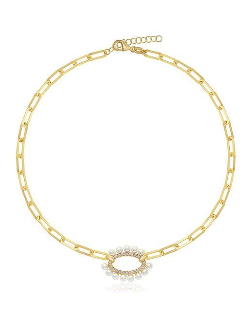 Gabi Rielle Metallic 14k Gold Vermeil, 2mm Freshwater Pearl & Cubic Zirconia Pendant Oval-link Choker Necklace