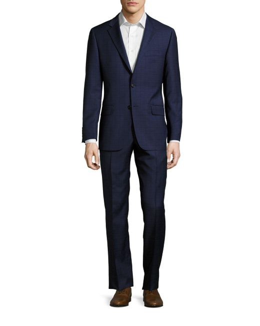 Hickey Freeman - Blue Regular-fit Plaid Wool Suit for Men - Lyst