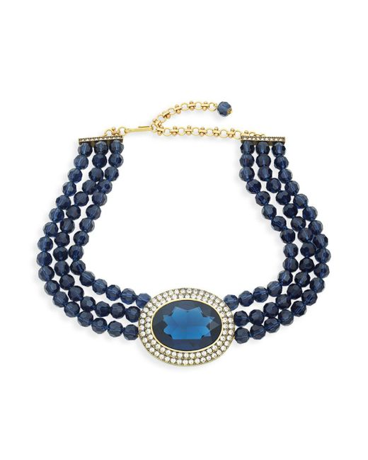 Heidi Daus - Blue Crystal Beaded Three-row Necklace - Lyst