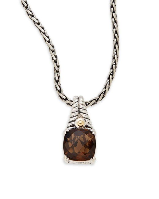 Effy - Metallic Smoky Quartz, Sterling Silver & 18k Yellow Gold Square Pendant Necklace - Lyst