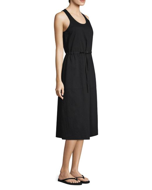 Eileen Fisher - Black Organic Cotton Twill Pull-on Dress - Lyst