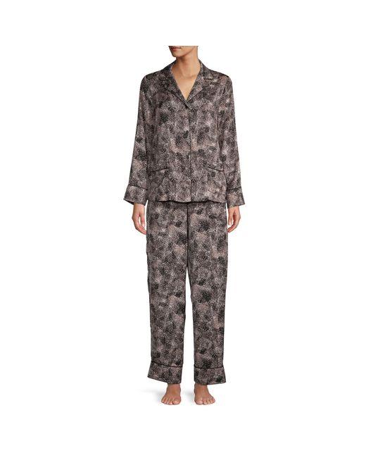 Donna Karan Black Printed 2-piece Pajama Set