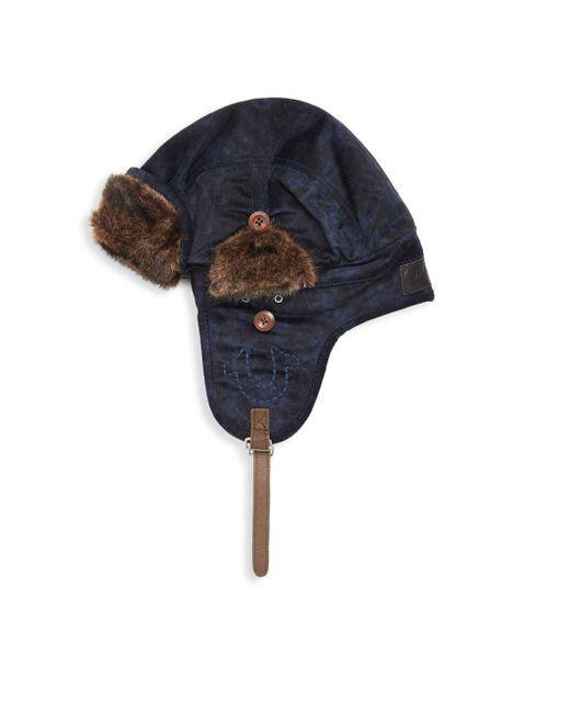 True Religion - Blue Faux Fur-trimmed Aviator Hat - Lyst