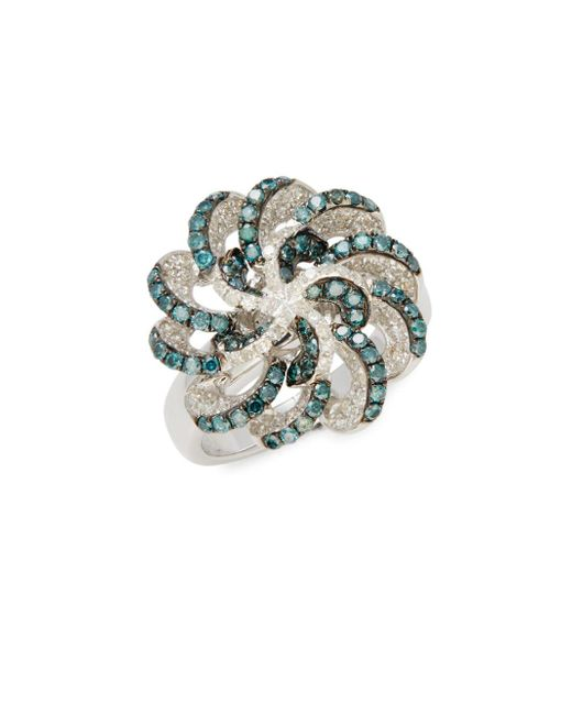 Effy - Metallic Blue Diamond & White Gold Ring - Lyst