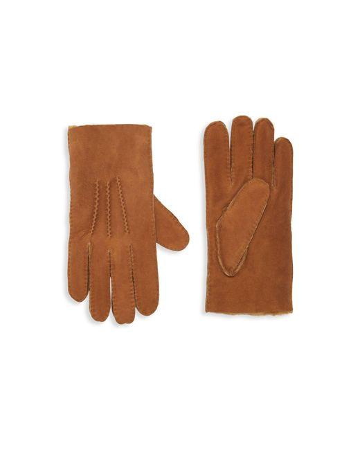 Portolano Brown Shearling-lined Suede Gloves for men